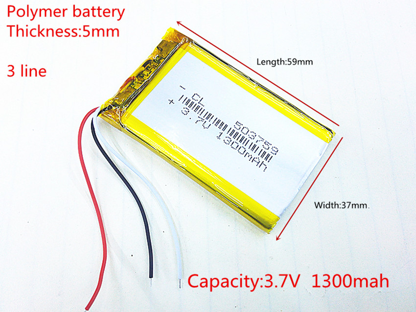 3 line 503759 3.7V 1300mAh Rechargeable li-Polymer Li-ion Battery For e Road route HD-X9 X10 E-V5 navigator NW-ZX1 LIS1530HNPPC