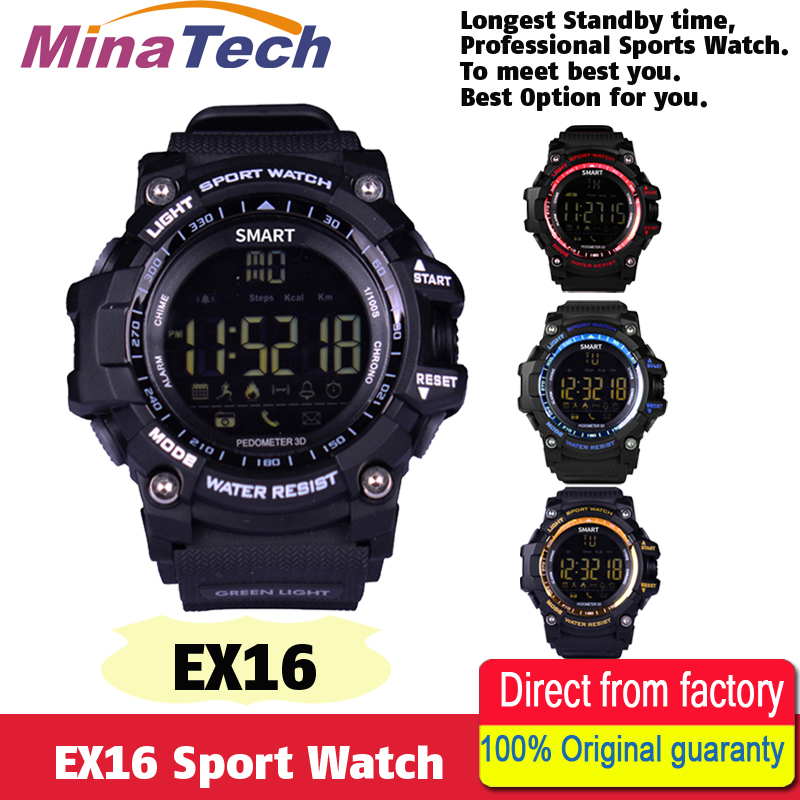New EX16 Sport Bluetooth Smart Watch Xwatch 5ATM IP67 Waterproof Smartwatch Pedometer Stopwatch Alarm Clock LONG