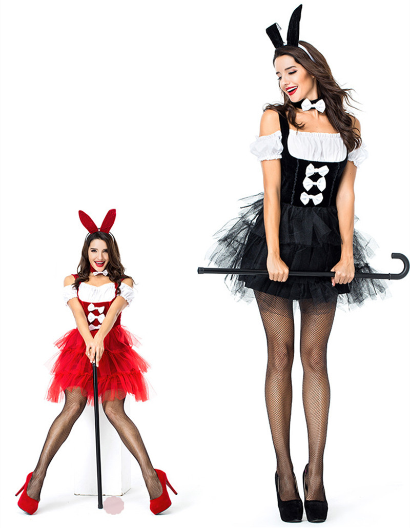 Halloween Women Sexy Rabbit Dress with ear headpiece wear Party bunny girl dress Lady sexy costume cross dress red/black