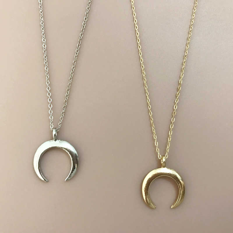 x87 New Arrival Moon Crescent Design Pendant Necklaces Fashion Jewelry Gold Color Metal Moon Choker Necklace For Women Wholesale