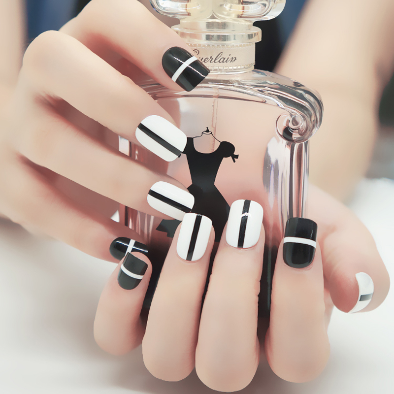 24pieces False Nails For Kids Children black and white 3D Fashion ...