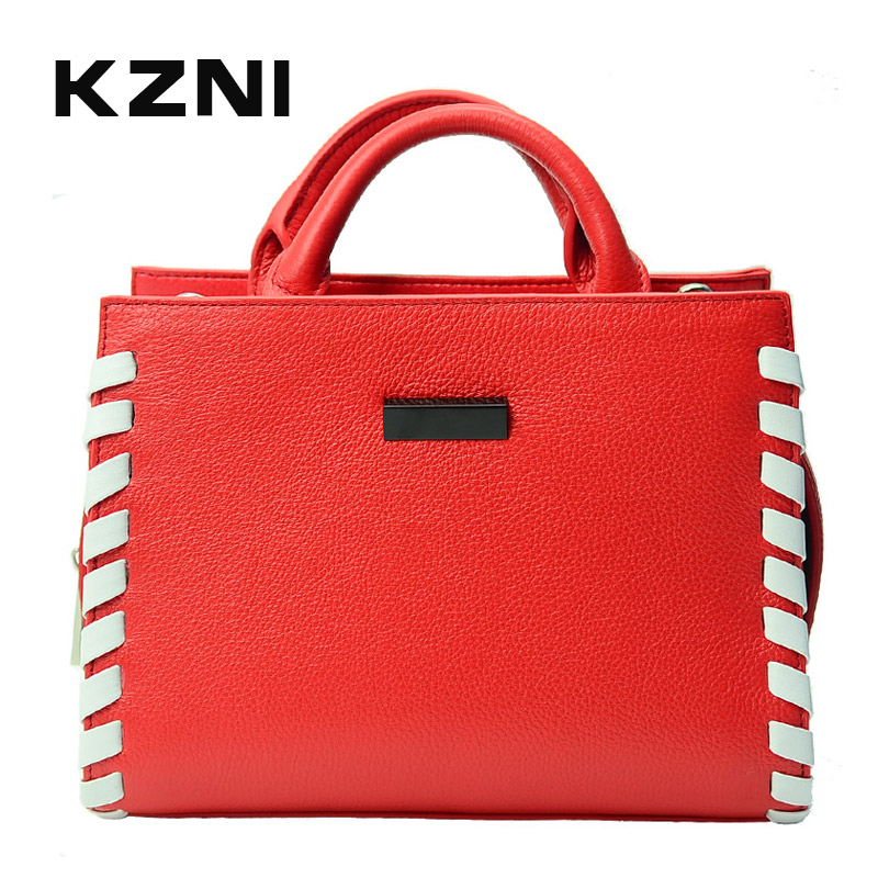 KZNI Genuine Leather Bag Female Shoulder Bag Women Purses and Handbags Fashion Handbags 2017 Bolsa Feminina Pochette 1425 kzni genuine leather purses and handbags bags for women 2017 phone bag day clutches high quality pochette bolsa feminina 9043