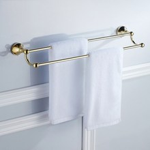 Golden Bathroom Double Towel Bar Wall Mounted Towel Rack Bathroom Hardware Bath Accessory KD874 free shipping towel racks luxury bathroom accesserries golden finish bath towel shelves towel bar bath hardware db008k 1