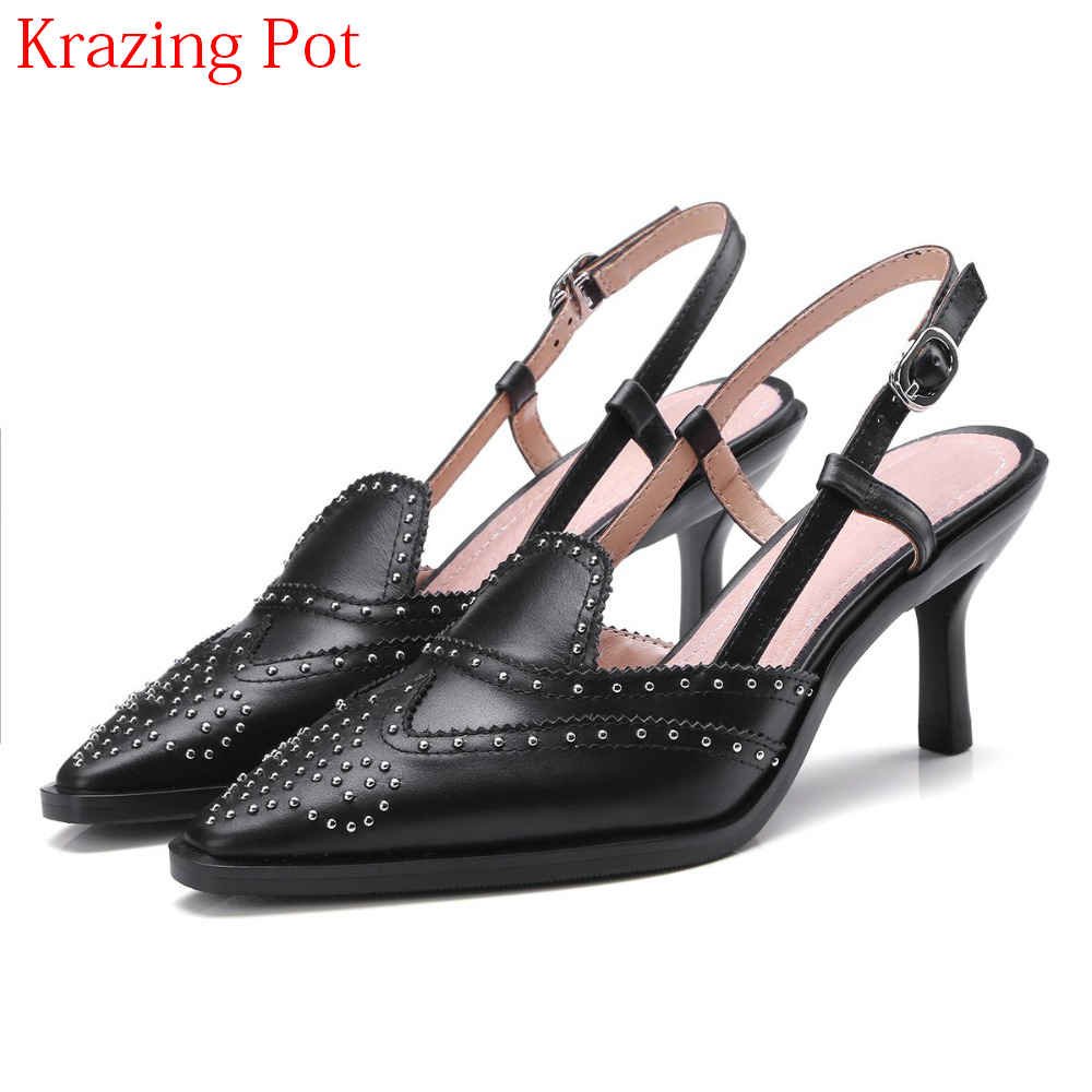 2018 Genuine Leather Thin High Heels Shallow Women Pumps Pointed Toe Buckle Strap Concise Slingback Office Lady Summer Shoes L03 universe women s shoes genuine leather wedges shallow mouth pointed toe buckle strap e073