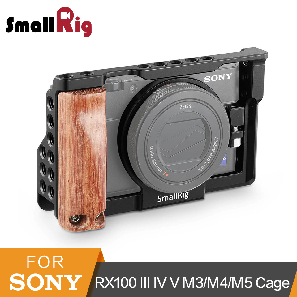 Cage de caméra SmallRig RX100 avec poignée latérale en bois pour Sony RX100 M3/M4/M5/M5A Cage DSLR + Kit de poignée-2105