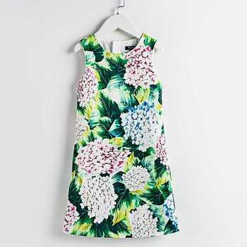 Summer children girl clothing sleeveless flower Hydrangea Print fashion straight Dress 4T-14T princess kids girls party sundress