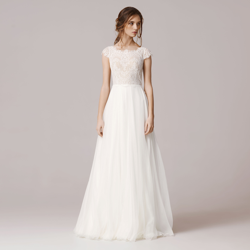 Cheap Wedding Dresses 2016 Simple Lace Bride Dresses Chiffon