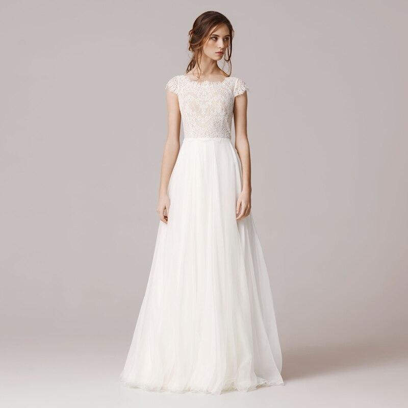 Simple Lace Bride Dresses Chiffon