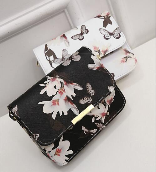Весна новый элегантный качества pu кожаная сумка женщины сумку стиль спрей нарцисс бабочка марка sweet girl маленький квадрат пакет