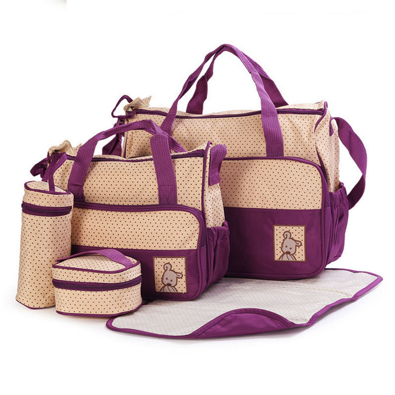 65d22d280 5PCS Set High Quality Multifunction Tote Baby Shoulder Diaper Bags Durable  Nappy Bag Mummy Baby Bag 10 Color-in Diaper Bags from Mother   Kids