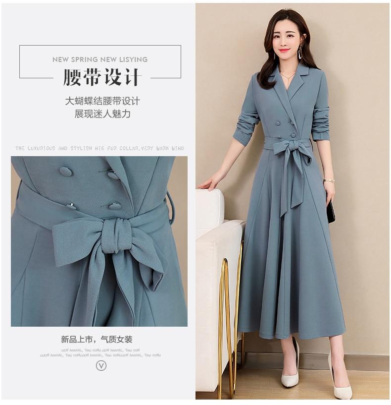 Spring and Autumn 2019 New Women's Dresses Korean Edition Long Sleeve Dresses Overlap Long Popular Temperament with Bottom 114