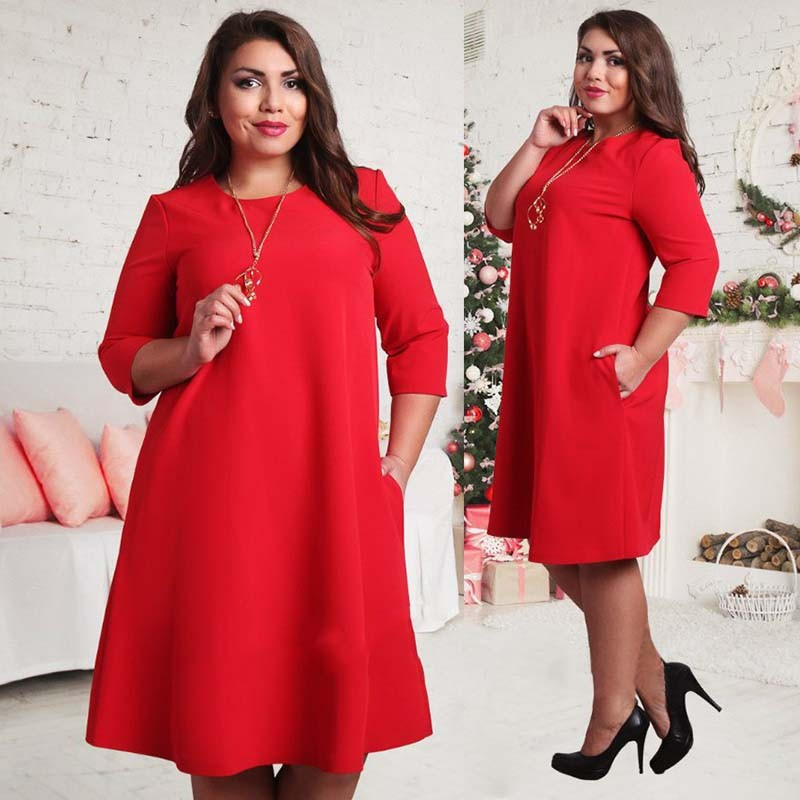 US $14.44 15% OFF|L 6XL Plus Size Women Casual Dresses 2019 Summer Fashion  Three Quarter Sleeve Loose Elegant Dress Vestidos Female Clothing-in ...