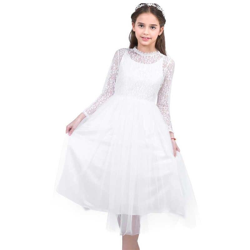 Vestito Dalla Ragazza di fiore Con Maniche Lunghe Carino Pizzo Bianco per Matrimoni Bambini Prom Abito Principessa Delle Ragazze Prima Comunione Abiti Da Festa