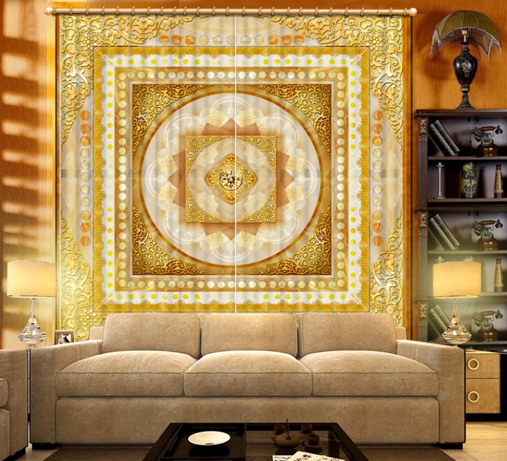 3D Curtain Fashion Customized Golden Pattern Curtains For Bedroom New Custom 3D Beautiful Blackout Shade Window 3D Curtain