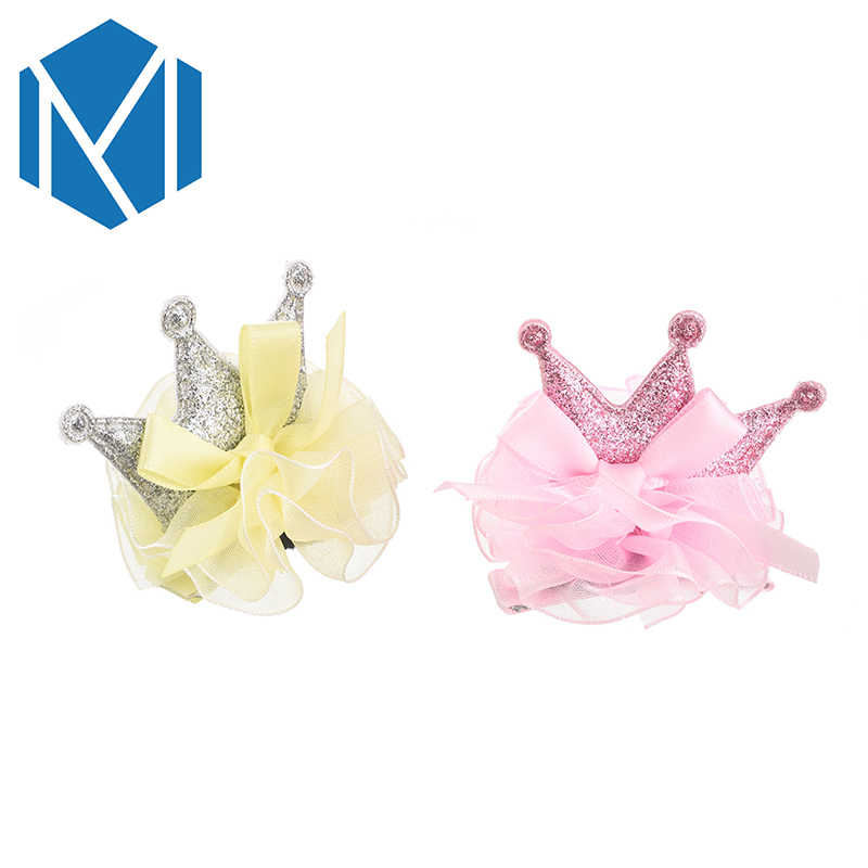CM MISM Cute Baby Girls Crown Hairpin Kids Tiaras Hair Clips Bowknot Hairgrips Princess Pink Hair Accessories Lovely Child Gifts