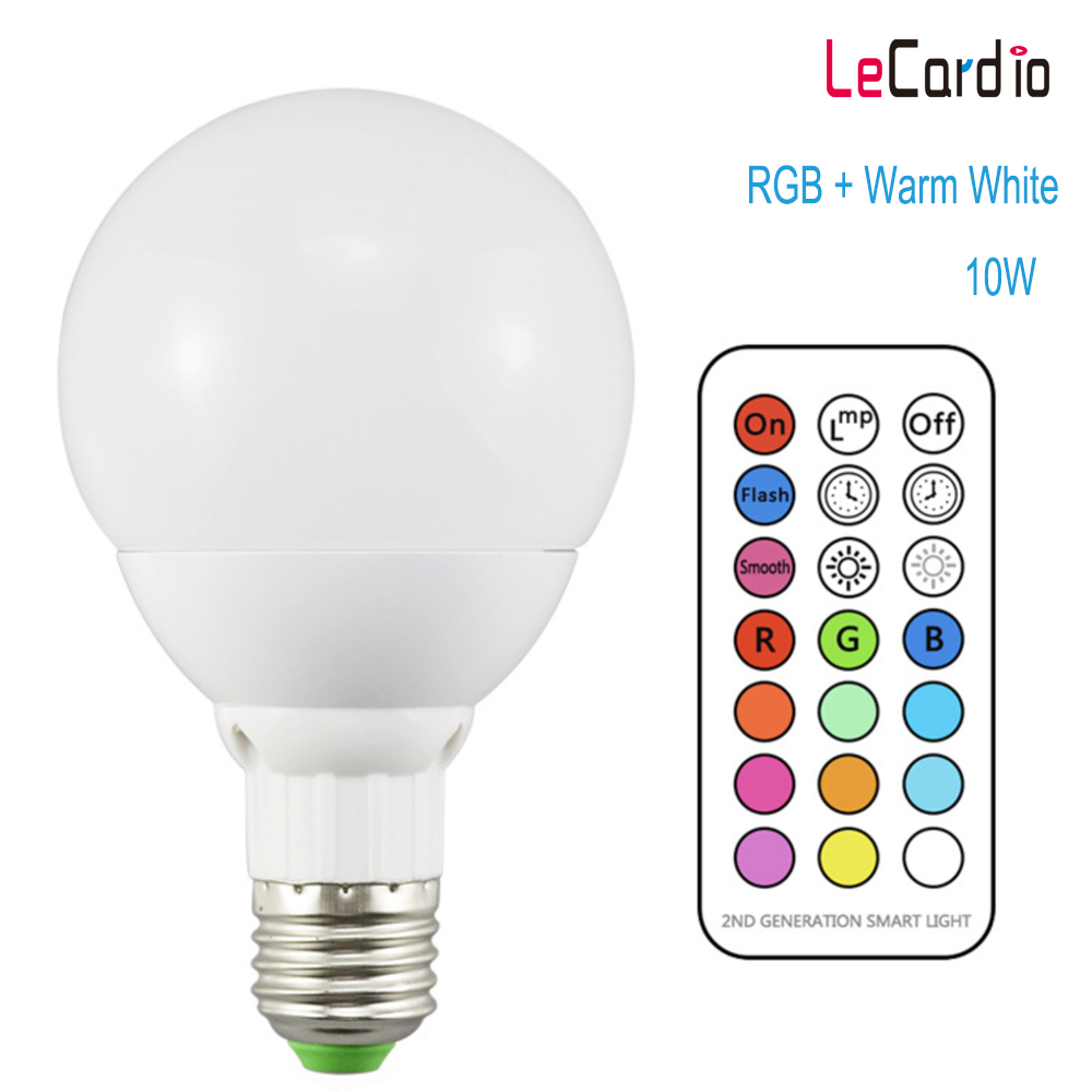 Led Bulb 10W 11 Color Dimmable Led Lamp RGB WarmWhite Stage Light Night Light Bulb 110V Remote Control + Timer + Memory Function