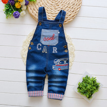 hot deal buy aautumn baby pants infant boy denim overalls newborn boys cartoon car bib pants children boys trousers kids strap pants