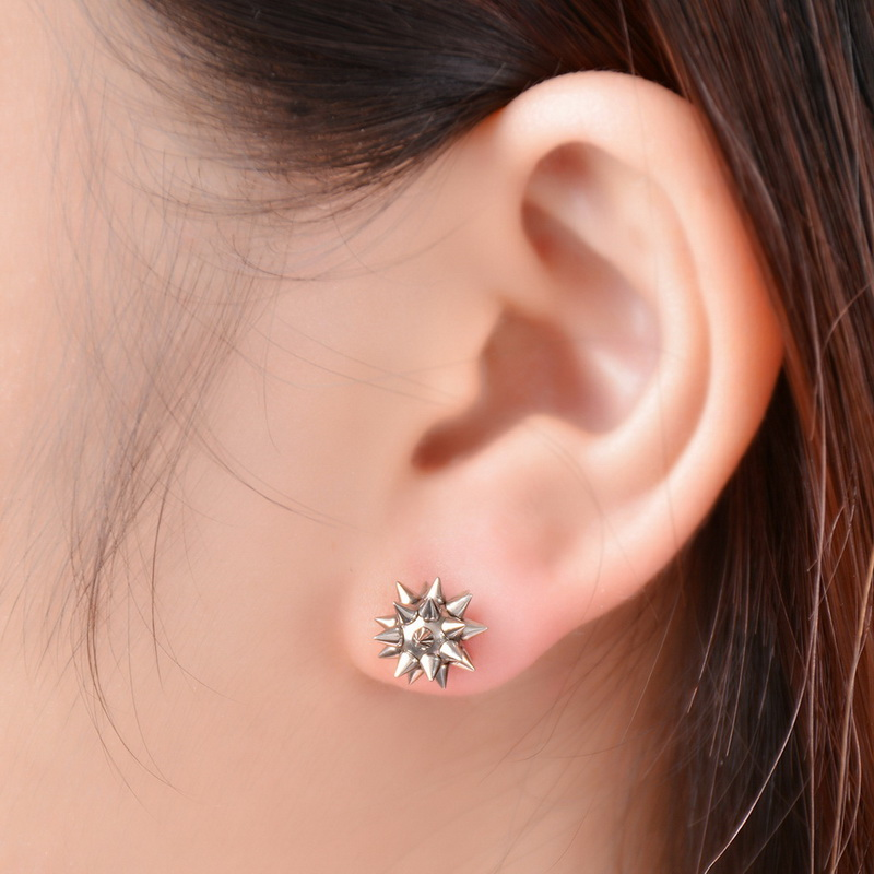 Lasperal 1pair Stainless Steel Stud Earings Cool Punk Spike Earrings For Women Men Fashion Star Hammer Brinco Jewelry In From