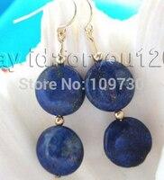 ry00322 Natural 14mm Blue Coin Lapis Lazuli Earrings Dangle 14KGP