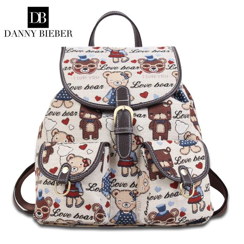 602db80b762 US $25.3 50% OFF|DANNY BIEBER Women Canvas Backpack Drawstring School Bags  for Teenagers Girls Rucksack Vintage Female Pull Rope Travel Backpack-in ...