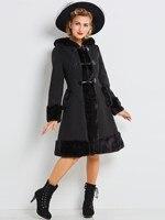ผู้หญิงฤดูหนาวT Rench Coatแบบกอธิควินเทจยาวฤดูหนาวสีดำ
