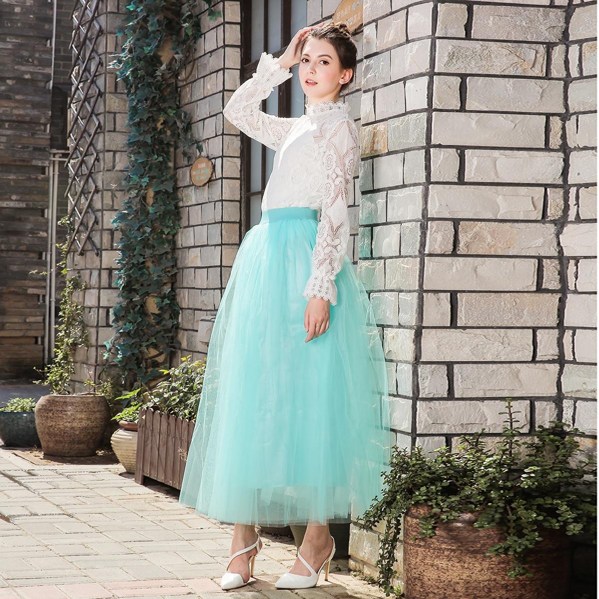 Bohemian Skirt Tulle Skirts Long Womens Maxi Skirts 4 Layers 100 Cm Mesh Pleated BridesmaidBall Gown Flared Saia Longa