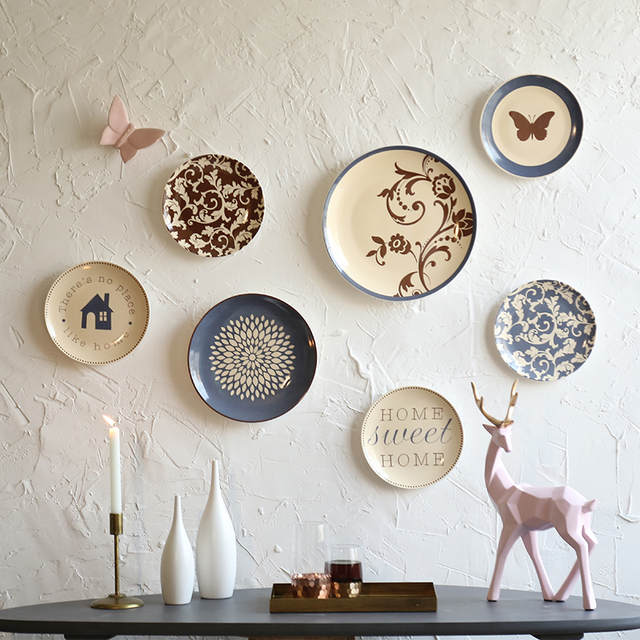 Modern Ceramic Plate Wall Hangings Restaurant Cafe Bar