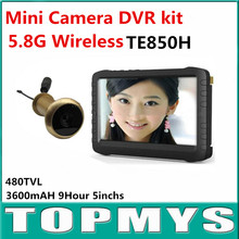 5.8G Wireless Door Peephole Camera with DVR 100m Range 90 Degree VOA 5-inch Screen Motion Detect Recording XR-TE850H