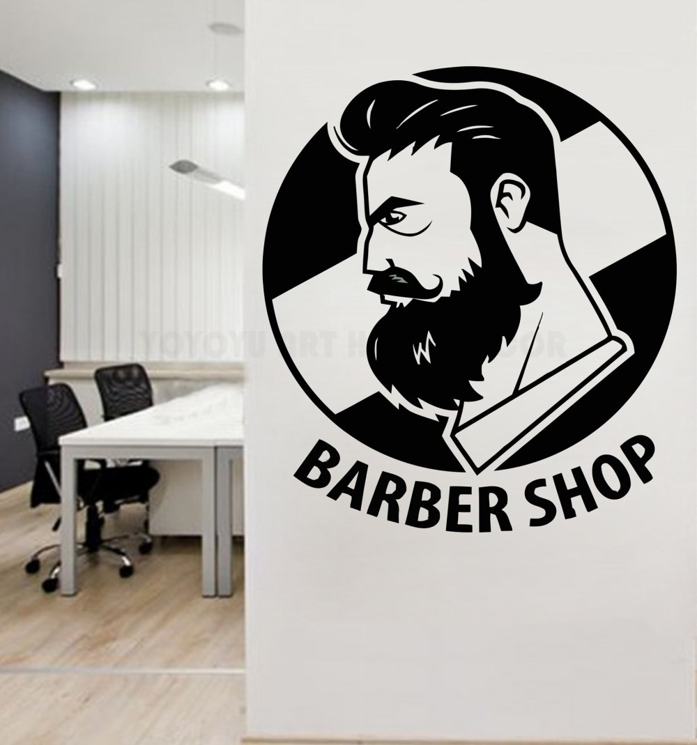 Gentleman barber shop logo wall decal art man salon haircut beard face tools beauty salon wall window decor sticker y151 in wall stickers from home garden