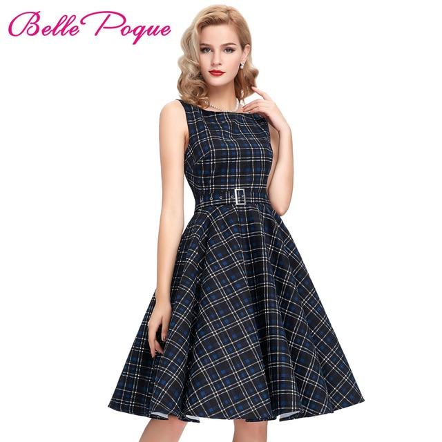 Belle Poque Women Summer Dress Sleeveless Cotton Short Plaid Striped Party Gowns Pinup 50s 60s Rockabilly Big Swing Dress 2017