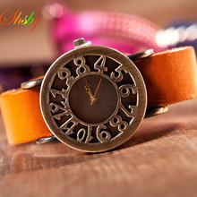 shsby New Roma Style vintage Digital hollow out Genuine Cow Leather strap watches