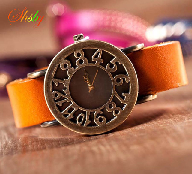 shsby New Roma Style vintage Digital hollow out Genuine Cow Leather strap watches women dress watches female quartz watch