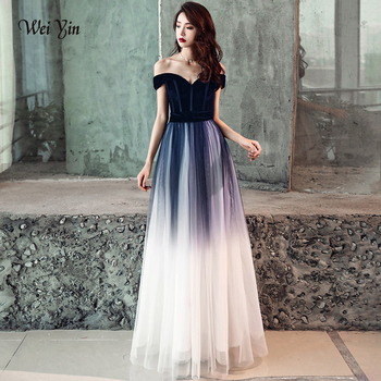 weiyin Black Sexy Velour Evening Dresses Women Elegant Off the Shoulder V-neck Long Maxi Party Evening Gowns WY1119