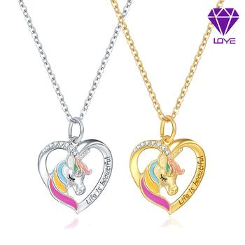 New Jewelry Color Unicorn Necklace Valentine's Day Children's Day Gift Cartoon Horse Drop Oil Pendant