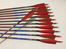 12pcs 30″Wood Skin Carbon arrow spine400 with ith 5″ Turkey fletching arrow tip for traditional bow archery and hunting