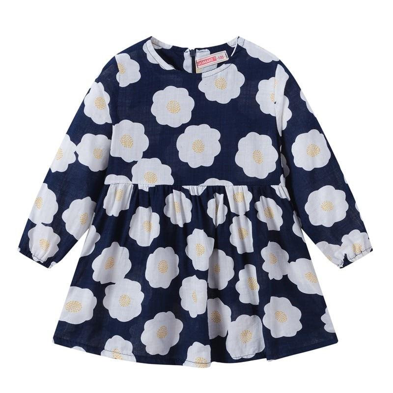 girls dress Toddler Baby Kids Girls Long Sleeve kids dresses for girls Floral Print Zipper Princess Dresses Clothes #7