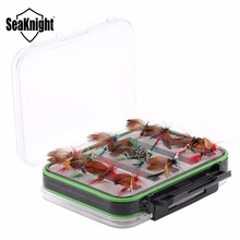 SeaKnight MAXWAY 24 Pieces Fly Lures Insect Bait with 126*94*45mm Double Face Visible Plastic Waterproof Box for Fly Lure Hooks