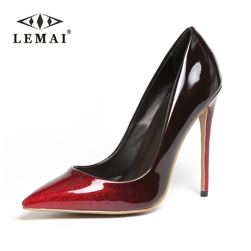 LEMAI Top Quality Red colors Gradual Change Color Women Pumps Pointed Toe Thin High Heels 2017 New Fashion Luxury Women Shoes