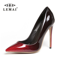 LEMAI Top Quality Red Colors Gradual Change Color Women Pumps Pointed Toe Thin High Heels 2017