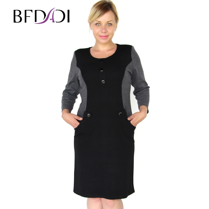 BFDADI 2016 New Brand Fashion Women Autumn Work Elegant Patchwork Business Casual Dress Round neck big size 6256-in Dresses from Women's Clothing    1