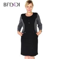 2015 New Brand Fashion Women Autumn Work Elegant Patchwork Business Casual Dress Round Neck Dig Size