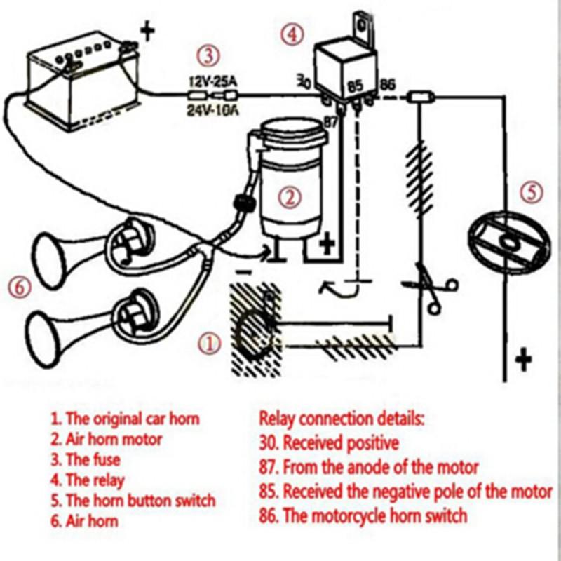 super loud 12v motorcycle dual trumpet air horn compressor kit train rh aliexpress com Motorcycle Wiring Harness Diagram of Performance 1984 Ironhead Wiring-Diagram