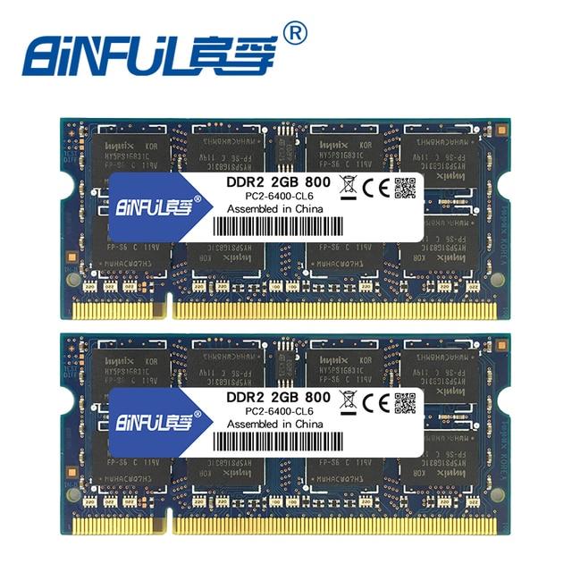 Binful 4 Гб (2x2 GB) DDR2 PC2-5300 667 МГц PC2-6400 800 МГц 4 Гб (комплект из 2,2X2 ГБ для двухканальный) оперативной памяти ноутбука Тетрадь