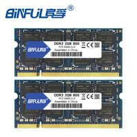 Binful 4 GB (2x2 GB) DDR2 PC2-5300 667 mhz PC2-6400 800 mhz 4 GB (Kit de 2,2X2 GB pour double canal) mémoire Ram ordinateur portable