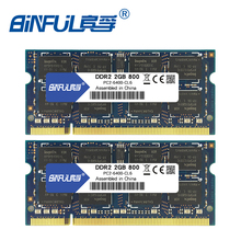 Binful 4 GB (2x2 GB) DDR2 PC2-5300 667 mhz PC2-6400 800 (Kit van 2,2X2 voor Dual Channel) geheugen Ram Laptop Notebook