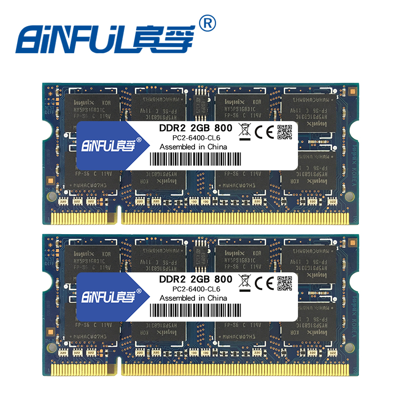 Binful 4GB(2x2GB) <font><b>DDR2</b></font> PC2-5300 667mhz PC2-6400 800mhz 4GB(Kit of 2,2X2GB for Dual Channel) Memory <font><b>Ram</b></font> Laptop <font><b>Notebook</b></font> image