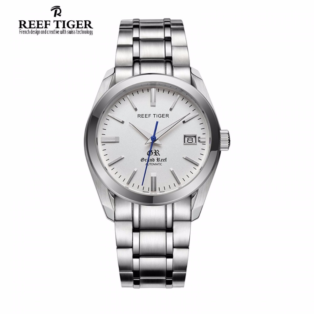 Reef Tiger/RT Dress Watches with Date Business Automatic Watches for Men Stainless Steel Analog Watch RGA818 2x yongnuo yn600ex rt yn e3 rt master flash speedlite for canon rt radio trigger system st e3 rt 600ex rt 5d3 7d 6d 70d 60d 5d