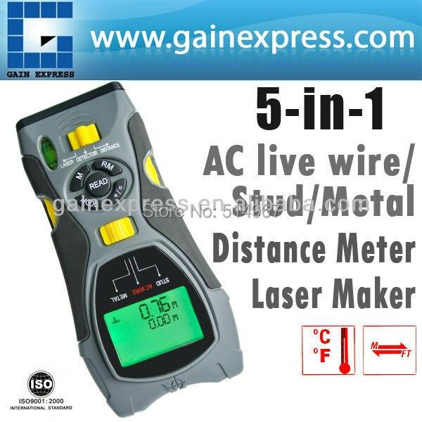 Portable Multifunction 5in1 Digital Distance Meter Stud/Joists Metal Wire Detector Laser Marker Tool 0.6~16m (2 ~ 53 feet) Range  цены