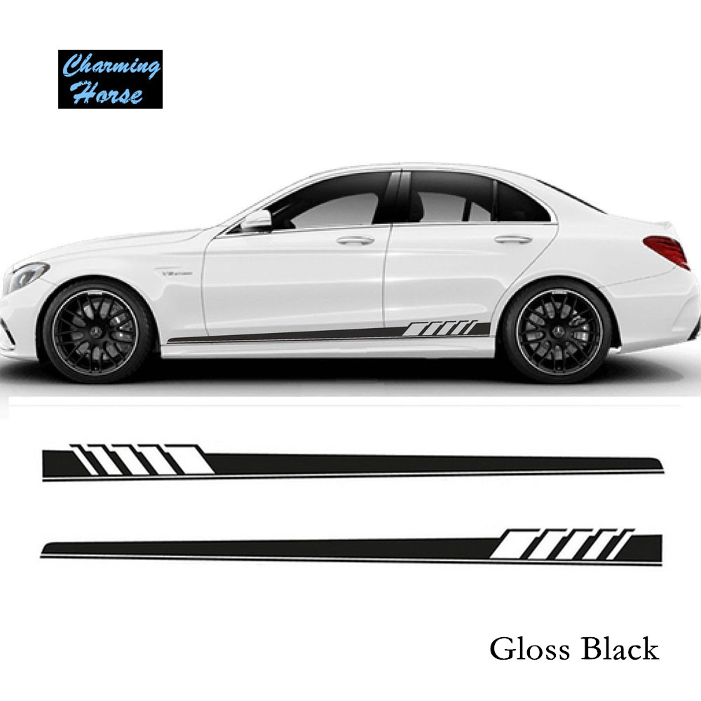 Car design sticker stripes - Gloss Black Auto Side Skirt Car Sticker Amg Edition 507 Racing Stripe Side Body Garland For