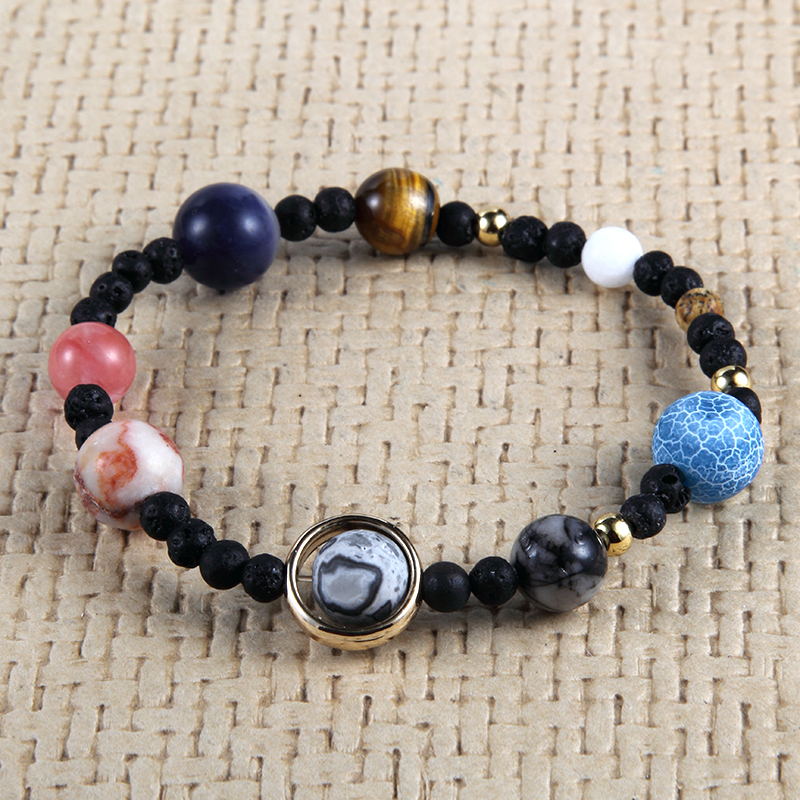 3pcs Universe Galaxy Eight Planets In The Solar System Guardian Star Lava Reiki Natural Stone Beads Elastic Bracelet & Bangle